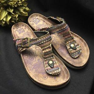 Muk Luks-Sandals-Purple-Adjustable buckles